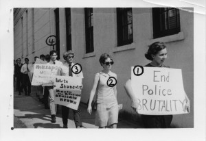 Millsaps students protesting death of JSU student and civil rights worker Benjamin Brown. Photo shot by the Commission with numbers identifying individual students.