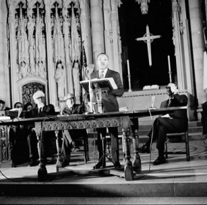 April 4, 1967 at Riverside Church in New York City. Left to right: Rabbi Abraham Joshua Heschel, historian Henry Steele Commager, Rev. Dr. Martin Luther King Jr., Dr. John Bennett (President of Union Theological Seminary in NYC).  Photo by John C. Goodwin.