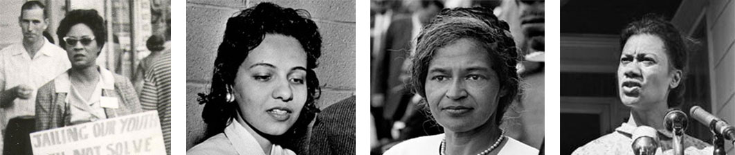 From left to right: Daisy Bates, Diane Nash Bevel, Rosa Parks, Gloria Richardson